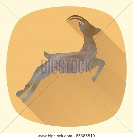 Vector Illustration Of Goat, Symbol Of 2015 On The Chinese Calendar. Silhouette Of Goat In Flat Desi