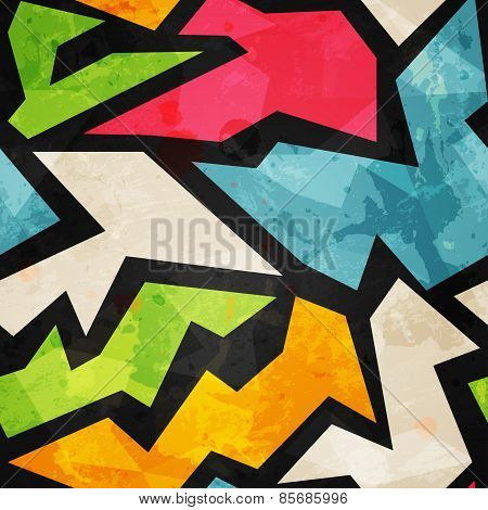 Graffiti Mosaic Seamless Pattern With Grunge Effect