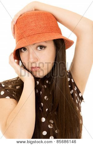Pretty Asian American Teen Girl Model Wearing An Orange Hat