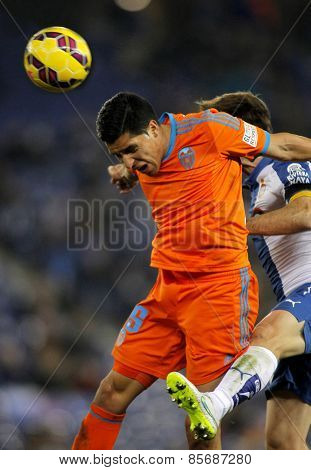 BARCELONA - FEB, 8: Enzo Perez of Valencia CF during spanish League match against RCD Espanyol at the Estadi Cornella on February 8, 2015 in Barcelona, Spain