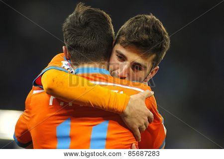 BARCELONA - FEB, 8: Jose Gaya embraces Pablo Piatti of Valencia CF during spanish League match against RCD Espanyol at the Estadi Cornella on February 8, 2015 in Barcelona, Spain