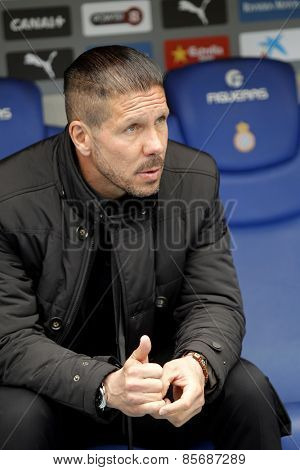 BARCELONA - MARCH, 14: Diego Simeone manager of Atletico Madrid during a Spanish League match against RCD Espanyol at the Estadi Cornella on March 14, 2015 in Barcelona, Spain