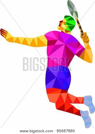 Badminton Player Jump Smash Low Polygon