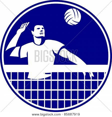 Volleyball Player Spiking Ball Circle Icon