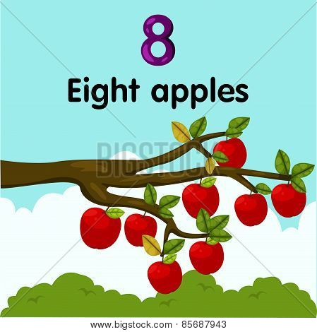 Illustrator of number eight apples