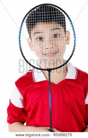 Asian Boy In Badminton Action