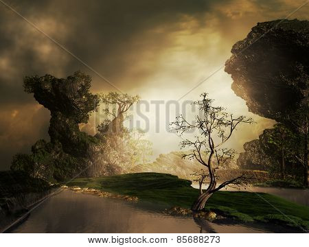 3D illustration of landscape with concept of fantasy