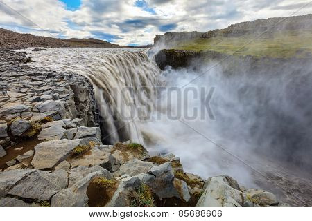 Dettfoss - waterfall on Jokulsa a Fjollum river in Iceland