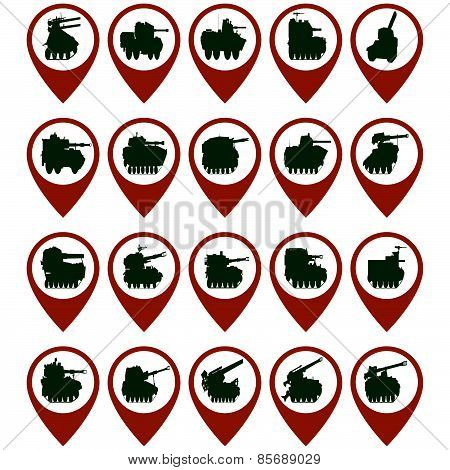 Badges with armored vehicles