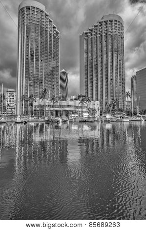 The Hawaii Prince Hotel and Ala Wai Small Boat Harbor.