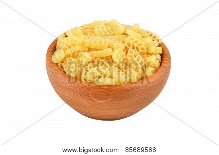 Pasta in wooden bowl