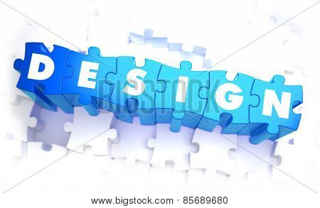 Design - Word in Blue Color on Volume  Puzzle.