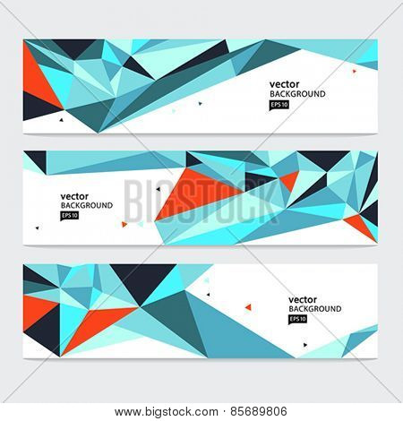 Abstract header set. Vector abstract background.