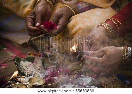 detail of hinduist worship ceremony, Nepal