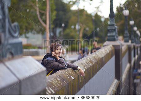 Traveler On Bridge