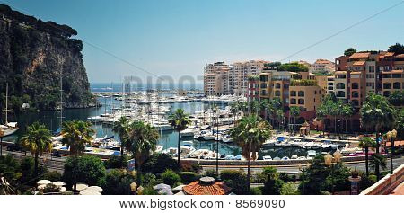 Panoramic Viev From Monaco Fontvieille Harbour