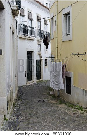 Narrow street in Lisbon