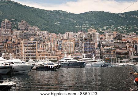 Panoramic View To Monaco Harbour