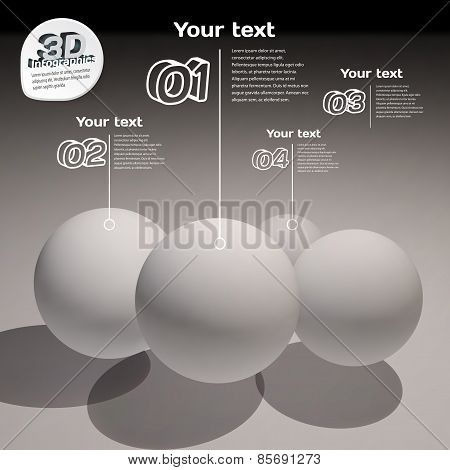 Infographics With Frosted Balls 3D Black And White