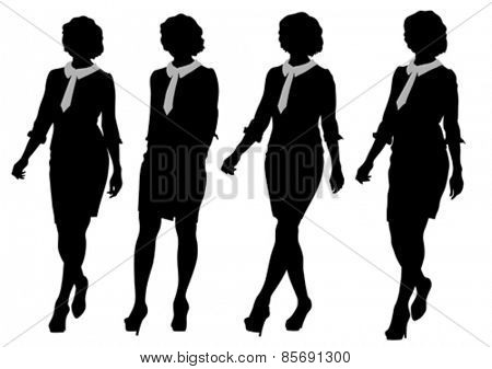 Young women in dress whit phone on white background