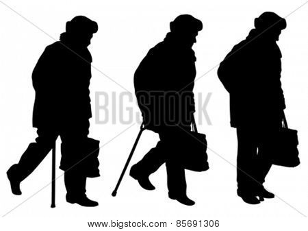 Elderly woman with stick on white background
