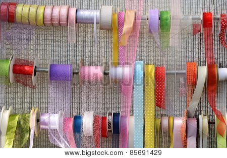 Decorative Ribbons Displayed On Rails