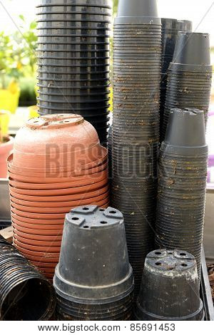 Stacks Of Flowerpots At A Nursery Or Store