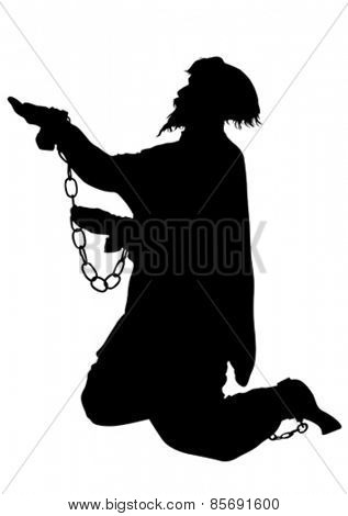 Silhouette of poor men in chains on a white background