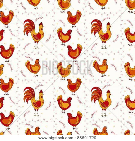 cute chickens seamless pattern