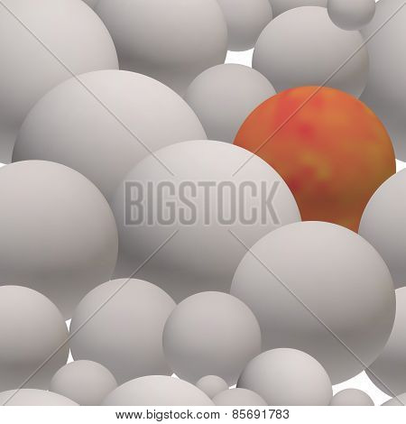 Seamless Pattern Of Gray Glossy 3D Balls