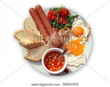 English breakfast with bacon, eggs, sausages, toast, tomatoes, salad and baked beans.