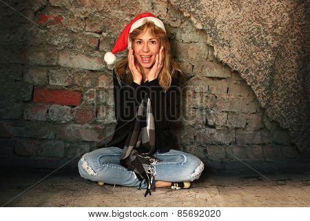Surprised Girl In A Santa Hat.