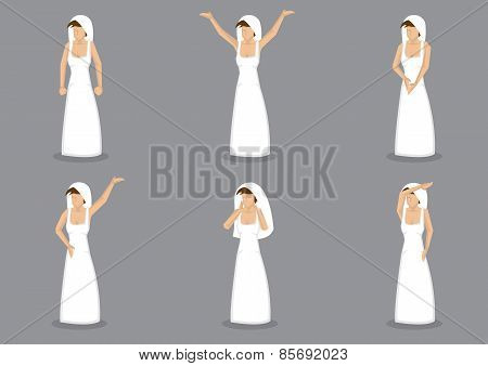 Bride In Wedding Dress Vector Cartoon Illustration