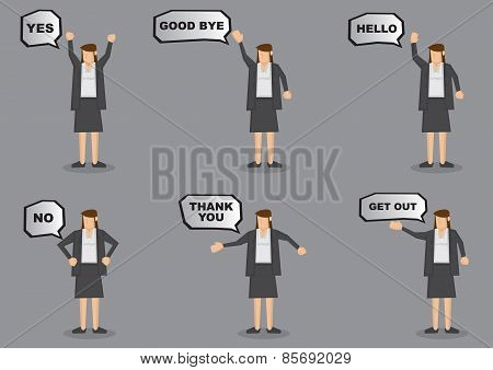 Businesswoman With Speech Balloons