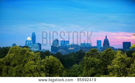 Skyline of Austin, Texas at dusk