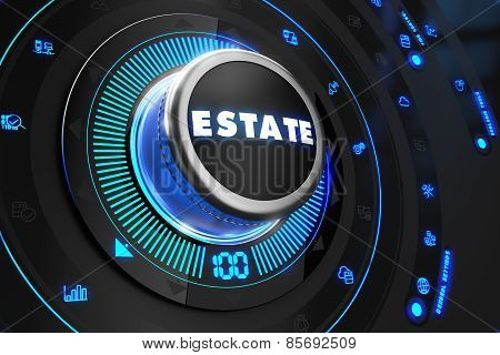 Estate Button with Glowing Blue Lights.