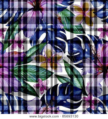 masculine checks and flowers seamless tropical pattern