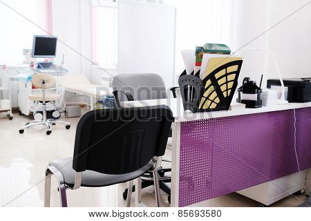 Interior room with medical ultrasound diagnostic equipment