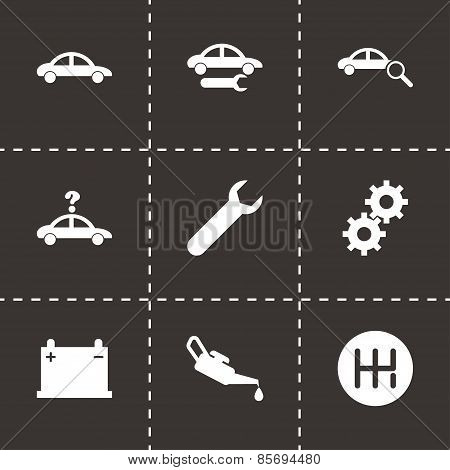 Vector black car service icon set