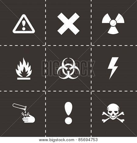 Vector black danger icon set