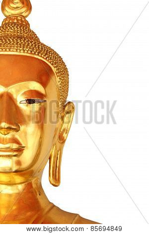 Half The Face Closeup Buddha Statue Isolated On White Background