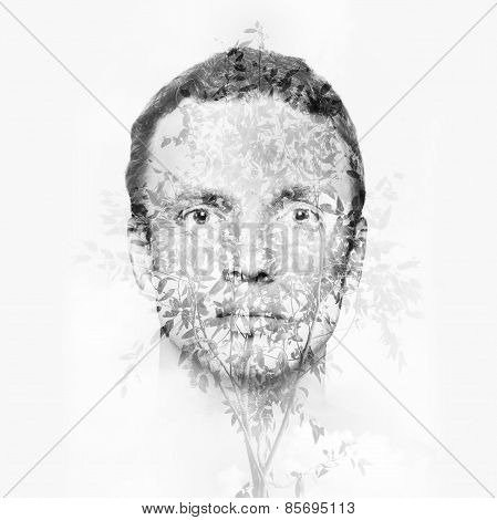 Man Face Mixed With Small Tree Leaves Pattern