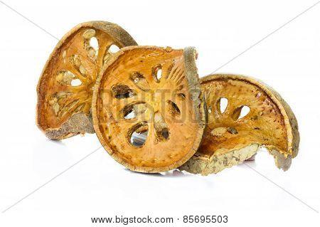 Dry Bael Fruit tea (Aegle marmelos) isolated on white background