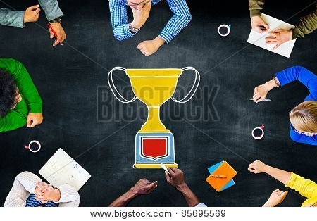 Trophy Success Winning Reward Meeting Concept