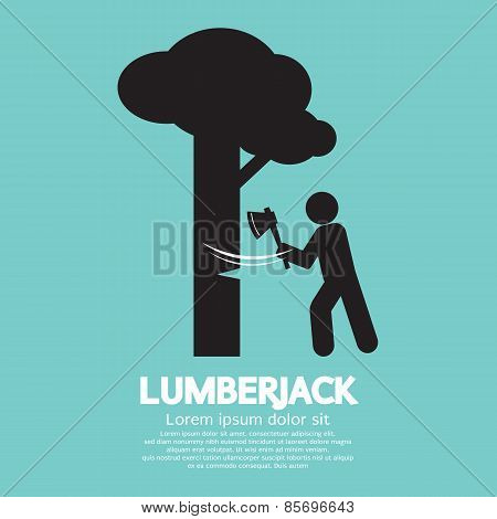 Lumberjack With Axe Symbol.