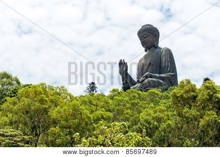 Giant Buddha sitting on lotus.Ngong PingHong Kong