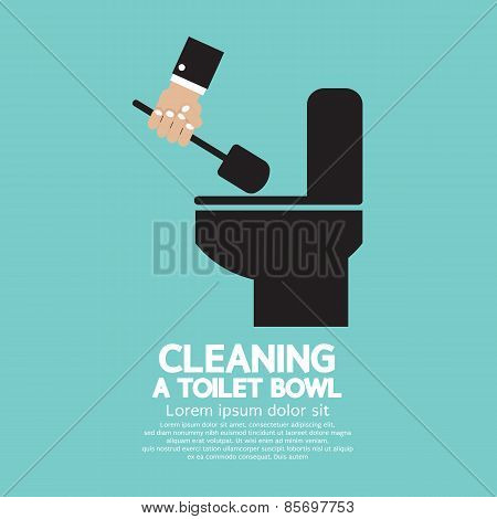Cleaning A Toilet Bowl.