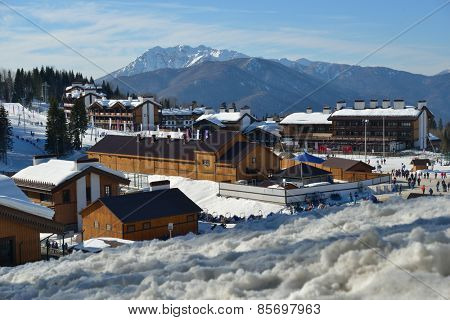 KRASNAYA POLYANA, SOCHI, RUSSIA - FEBRUARY 13, 2014: View to Olympic village in cross-country ski and biathlon center Laura during Winter Olympics