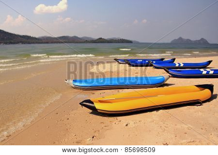 Inflatable boats on a beach