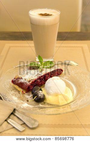 Cherry Strudel With Vanilla Ice-cream And Custard